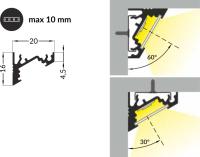 LED Aluminium Eckprofil Set CORNER 10mm (2m) eloxiert inkl. Blende (weiß), Befestigungsclips und Endkappen für LED-Streifen/indirekte Beleuchtung