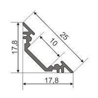 LED Profil TRIO (TR) Aluminium 2m eloxiert + raureife...